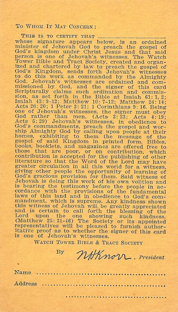 Reverse of a Jehovah's Witness calling card, post World War II