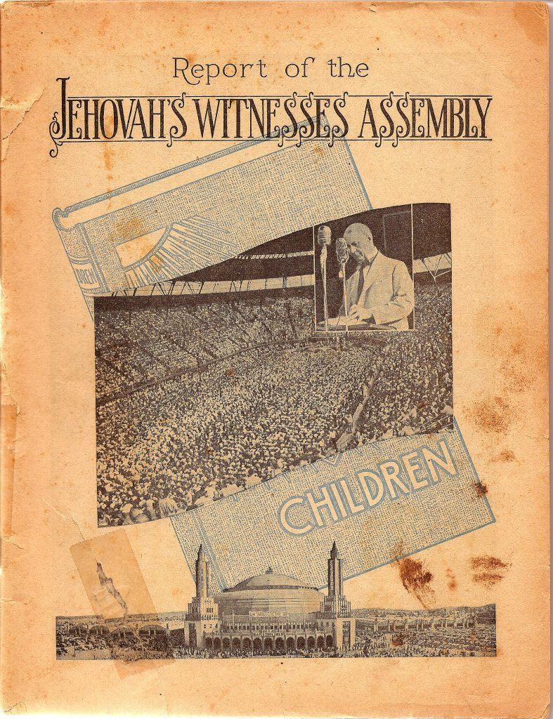 Multi-paged flyer announcing the subject of children at the 1941 St. Louis Jehovah's Witnesses Assembly with the featured speaker Judge Rutherford