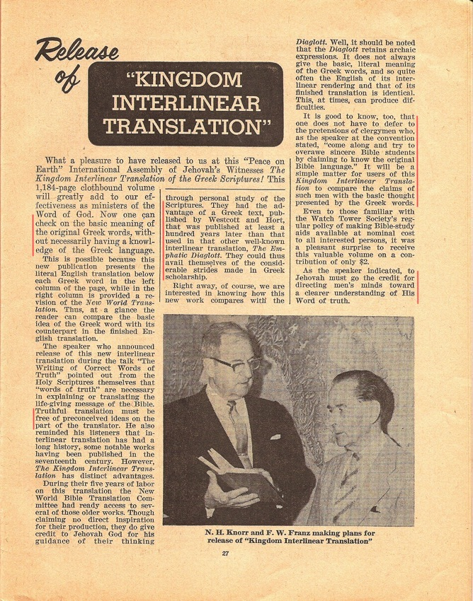 """This is the announcement by N.H. Knorr and F.W. Franz of the release of the Kingdom Interlinear Translation in 1969 at the """"Peace on Earth"""" International Assemblies of Jehovah's Witnesses."""